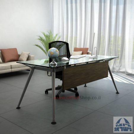 שולחן מנהלים יוקרתי דגם Spider Glass כולל מיסתור - בהתאמה אישית