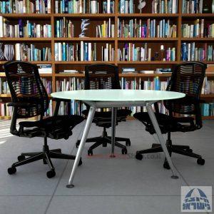 שולחן ישיבות עגול דגם Spider Glass רגל כרום ניקל זכוכית לבנה