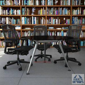 שולחן ישיבות עגול דגם Spider Glass רגל כרום ניקל זכוכית שחורה