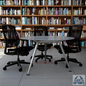 שולחן ישיבות עגול דגם Spider Glass רגל כרום ניקל זכוכית אפורה