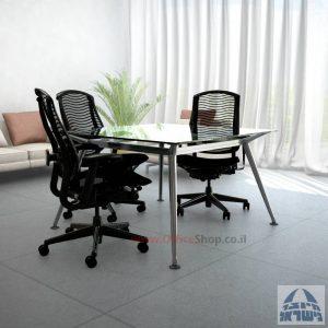 שולחן ישיבות מרובע דגם Spider Glass רגל כרום ניקל זכוכית שקופה
