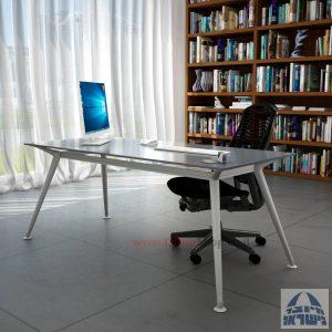 שולחן מנהלים יוקרתי Spider Glass רגל כסף זכוכית אפורה ללא מיסתור