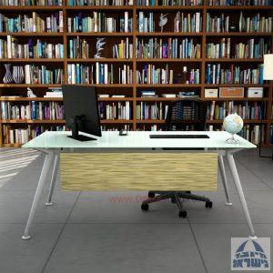 שולחן מנהלים יוקרתי Spider Glass רגל כסף זכוכית לבנה כולל מיסתור