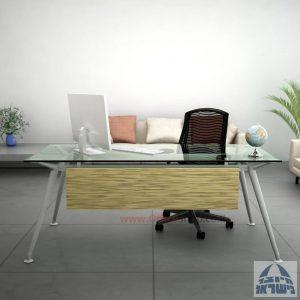 שולחן מנהלים יוקרתי Spider Glass רגל כסף זכוכית שקופה כולל מיסתור