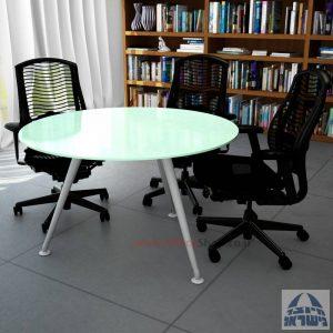 שולחן ישיבות עגול דגם Spider Glass רגל כסף זכוכית לבנה