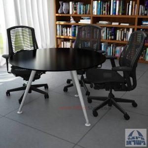 שולחן ישיבות עגול דגם Spider Glass רגל כסף זכוכית שחורה