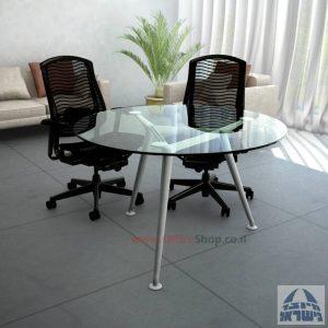 שולחן ישיבות עגול דגם Spider Glass רגל כסף זכוכית שקופה