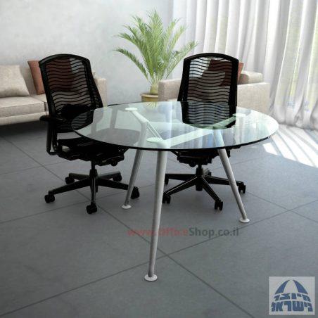 שולחן ישיבות עגול דגם Spider Glass רגל כרום ניקל זכוכית שקופה