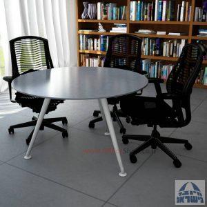 שולחן ישיבות עגול דגם Spider Glass רגל כסף זכוכית אפורה