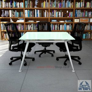 שולחן ישיבות מרובע דגם Spider Glass רגל כסף זכוכית לבנה
