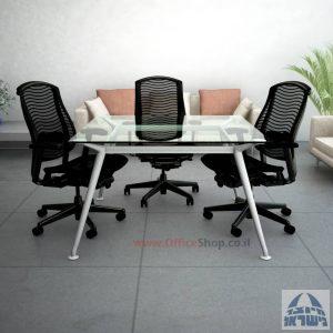 שולחן ישיבות מרובע דגם Spider Glass רגל כסף זכוכית שקופה