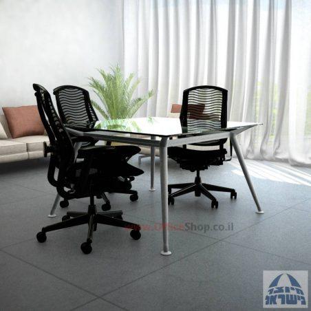 שולחן ישיבות מרובע ויוקרתי דגם  Spider Glass  בהתאמה אישית