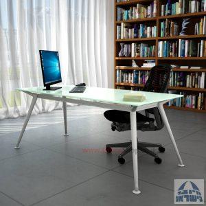 שולחן מנהלים יוקרתי Spider Glass רגל כסף זכוכית לבנה ללא מיסתור