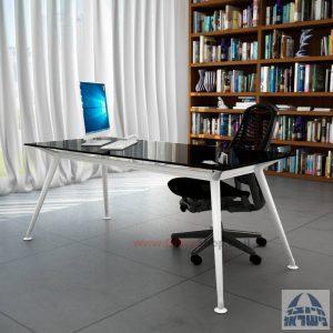 שולחן מנהלים יוקרתי Spider Glass רגל לבנה זכוכית שחורה ללא מיסתור