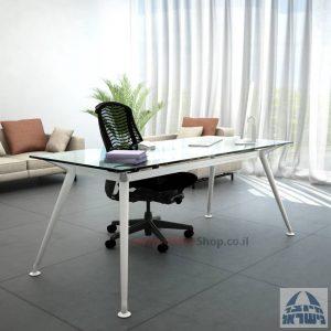 שולחן מנהלים יוקרתי Spider Glass רגל לבנה זכוכית שקופה ללא מיסתור