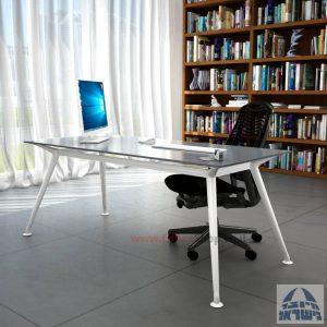 שולחן מנהלים יוקרתי Spider Glass רגל לבנה זכוכית אפורה ללא מיסתור
