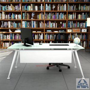 שולחן מנהלים יוקרתי Spider Glass רגל לבנה זכוכית לבנה כולל מיסתור