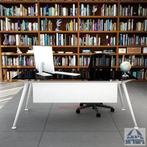 שולחן מנהלים יוקרתי Spider Glass רגל לבנה זכוכית שחורה כולל מיסתור