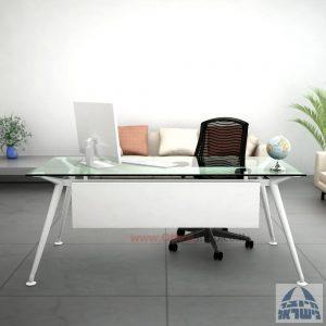שולחן מנהלים יוקרתי Spider Glass רגל לבנה זכוכית שקופה כולל מיסתור