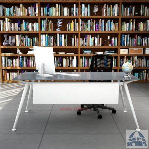 שולחן מנהלים יוקרתי Spider Glass רגל לבנה זכוכית אפורה כולל מיסתור