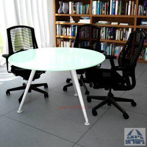 שולחן ישיבות עגול דגם Spider Glass רגל לבנה זכוכית לבנה