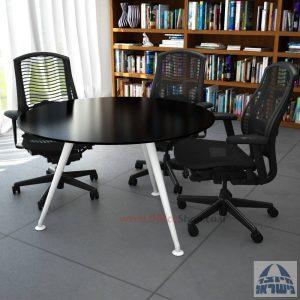 שולחן ישיבות עגול דגם Spider Glass רגל לבנה זכוכית שחורה