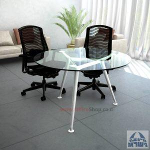 שולחן ישיבות עגול דגם Spider Glass רגל לבנה זכוכית שקופה
