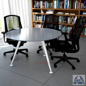שולחן ישיבות עגול דגם Spider Glass רגל לבנה זכוכית אפורה