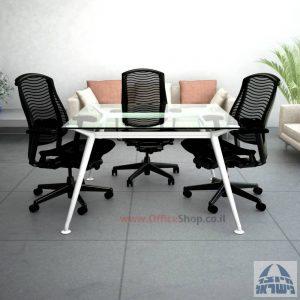 שולחן ישיבות מרובע דגם Spider Glass רגל לבנה זכוכית שקופה