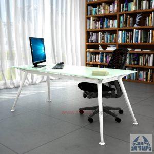 שולחן מנהלים יוקרתי Spider Glass רגל לבנה זכוכית לבנה ללא מיסתור