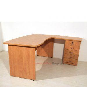 שולחן כתיבה פינתי ארגונומי דגם גל כולל 5 מגירות