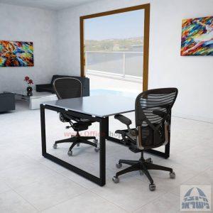 שולחן ישיבות מרובע דגם Diamond Glass רגל שחורה זכוכית אפורה