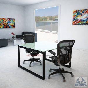 שולחן ישיבות מרובע דגם Diamond Glass רגל שחורה זכוכית לבנה