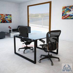 שולחן ישיבות מרובע דגם Diamond Glass רגל שחורה זכוכית שקופה