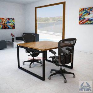 שולחן ישיבות מרובע דגם Diamond רגל שחורה