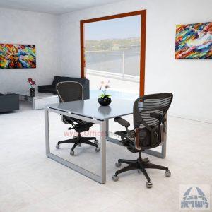 שולחן ישיבות מרובע דגם Diamond Glass רגל כסף זכוכית אפורה