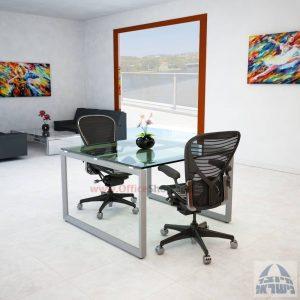 שולחן ישיבות מרובע דגם Diamond Glass רגל כסף זכוכית שקופה