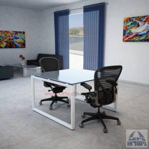 שולחן ישיבות מרובע דגם Diamond Glass רגל לבנה זכוכית אפורה