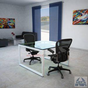 שולחן ישיבות מרובע דגם Diamond Glass רגל לבנה זכוכית שקופה