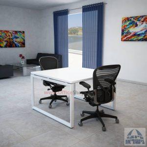 שולחן ישיבות מרובע דגם Diamond רגל לבנה