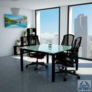 שולחן ישיבות זכוכית מרובע דגם Rotem Glass רגל שחורה זכוכית לבנה