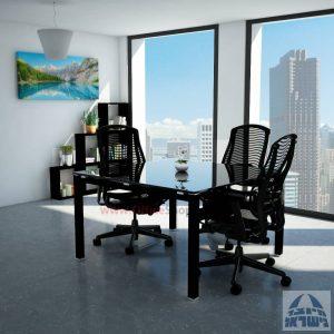שולחן ישיבות זכוכית מרובע דגם Rotem Glass רגל שחורה זכוכית שקופה