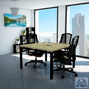 שולחן ישיבות מרובע דגם Tomer רגל שחורה