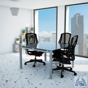שולחן ישיבות זכוכית מרובע דגם Rotem Glass רגל כסף זכוכית אפורה