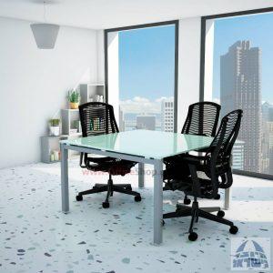 שולחן ישיבות זכוכית מרובע דגם Rotem Glass רגל כסף זכוכית לבנה