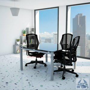 שולחן ישיבות זכוכית מרובע דגם Rotem Glass רגל כסף זכוכית שחורה