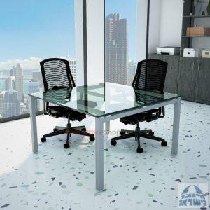 שולחן ישיבות זכוכית מרובע דגם Rotem Glass רגל כסף זכוכית שקופה