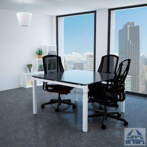 שולחן ישיבות זכוכית מרובע דגם Rotem Glass רגל לבנה זכוכית אפורה