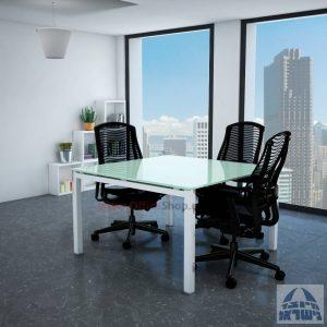 שולחן ישיבות זכוכית מרובע דגם Rotem Glass רגל לבנה זכוכית לבנה