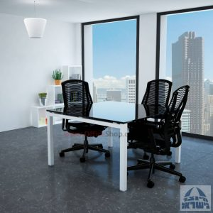 שולחן ישיבות זכוכית מרובע דגם Rotem Glass רגל לבנה זכוכית שחורה